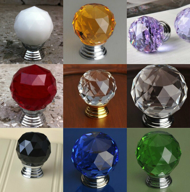 1 5 10 Crystal Glass Door Knob Drawer Pull Cabinet Handle Wardrobe Cupboard 30mm
