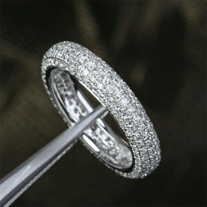 1 55ct solid 14kt white gold pave wedding eternity