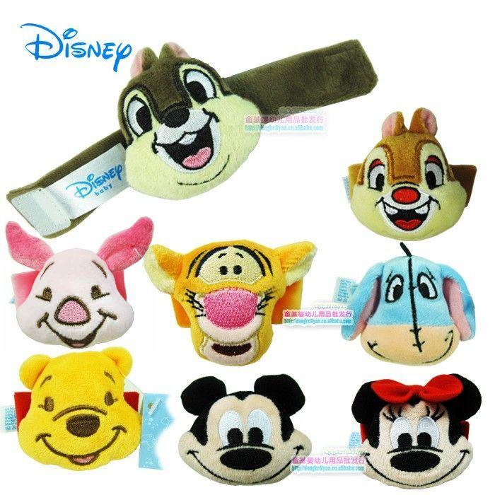 1× Disney Infant Baby Kids Velvet Wrist Watch Rattles Soft Toys Hands Finders 0