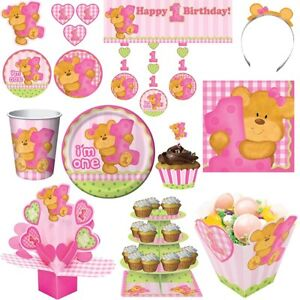 1 geburtstag party teddy b r m dchen kindergeburtstag set kinderparty deko rosa ebay. Black Bedroom Furniture Sets. Home Design Ideas