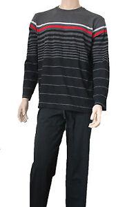 1-Herren-Schiesser-Schlafanzug-Pyjama-schwarz-Design-B262-Top-alle-Groessen
