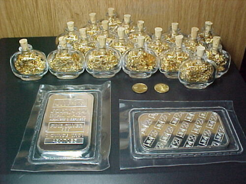 1 OZ .999 SILVER BULLION BAR+2 22k $20 St. Gaudens Coin+20 Gold flake Bottles in Coins & Paper Money, Bullion, Silver | eBay