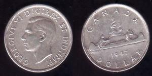 1-Silber-Canada-1947-Blunt-7-selten