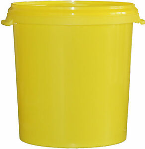 1 st ck 30 l liter eimer leer leereimer gelb hobbock kunststoffeimer mit deckel ebay. Black Bedroom Furniture Sets. Home Design Ideas