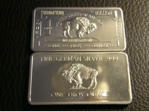 1 Troy Oz German Silver Bullion Buffalo Bar In Coins
