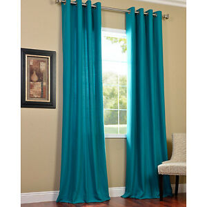Aqua Turquoise Panel Grommet Faux Silk Curtain Sheer 60 X 84 New On Popscreen