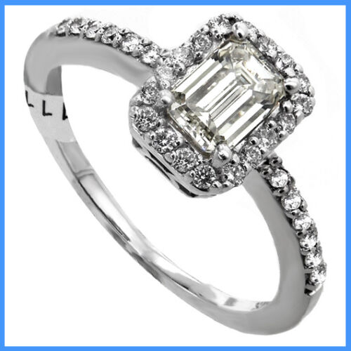 1 ct Emerald cut Halo Round Diamonds head Engagement RING Wedding Band .96 wgold in Jewelry & Watches, Engagement & Wedding, Engagement Rings | eBay