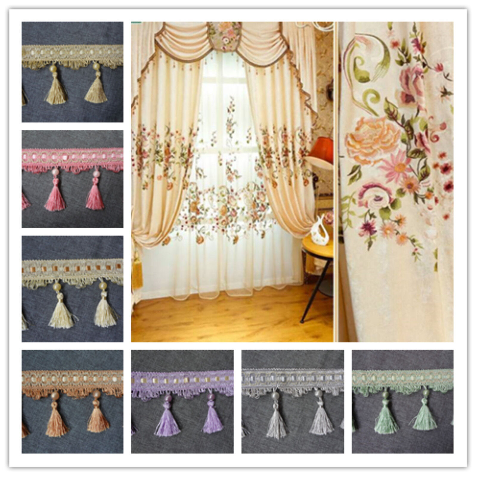 1 Meter Tassel Craft Curtain Home Decoration Lace Beaded