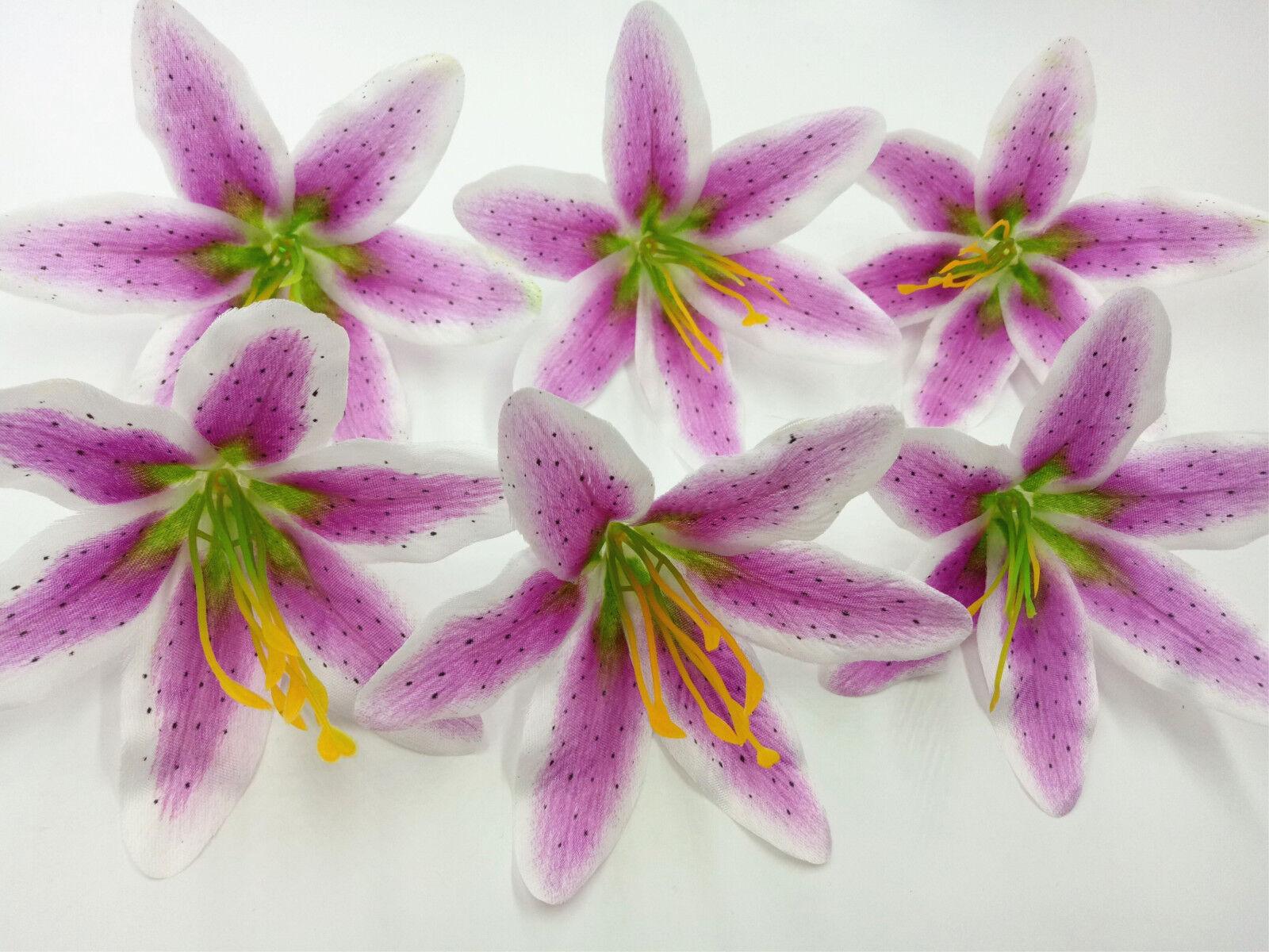 10 100pcs Wholesale Artificial Lily Silk flower Heads Assembled Party Decorat
