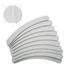 10-Bananenfeilen-Weiss-Koernung-100-180-gebogen-Feile-Nagelfeile-Weiss