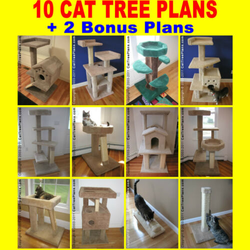 10 CAT CONDO FURNITURE PLANS Directions Make Tree Toy House Stop Scratching Post in Pet Supplies, Cat Supplies, Furniture & Scratchers | eBay