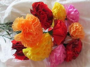 10-Deko-Nelken-mit-Stiel-58cm-Kuenstliche-Kunst-Blumen-Seidenblumen-Floristik