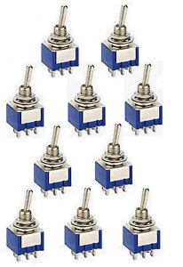 10-Miniatur-Kippschalter-2-x-UM-EIN-EIN-6A-125VAC-NEU