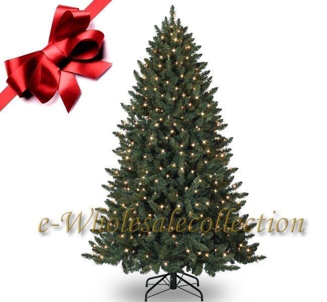 10 PRE LIT CLEAR ARTIFICIAL SPRUCE CHRISTMAS TREE 10FT