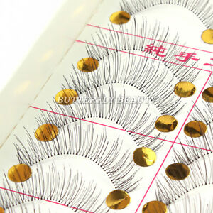 10-Pairs-Black-Natural-Fales-Eyelashes-eye-lash-Make-up-handmade-218