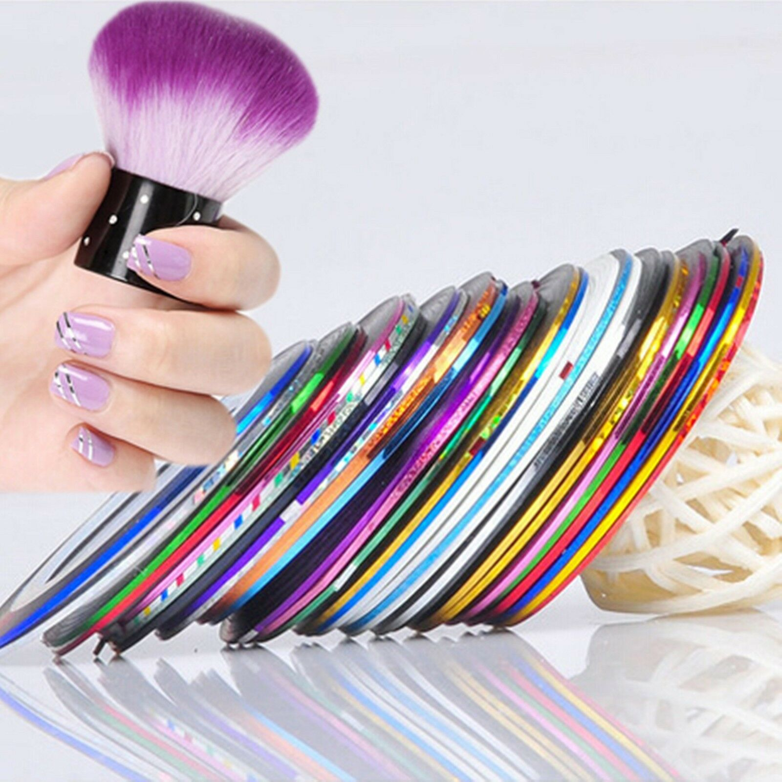 Nail Art Using Striping Tape: 10 Pcs Mixed Striping Tape Line Nail Art Tips Decoration