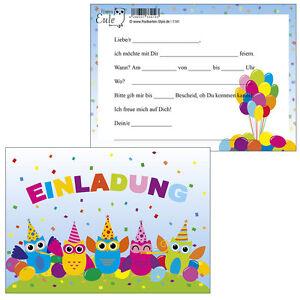 10-Postkarten-Einladungskarte-Einladung-Geburtstag-Kinder-bunte-Eulen ...
