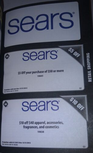 10 Sears Coupons / $5 off purchase / $10 off apparel / Exp 12/31/2013 in Gift Cards & Coupons, Coupons | eBay