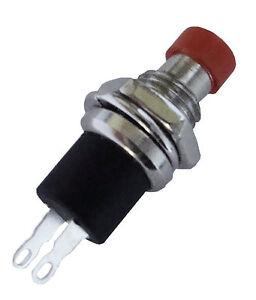 10-St-Miniatur-Drucktaster-Schliesser-METALL-1-pol-ROT-TOP-Qualitaet