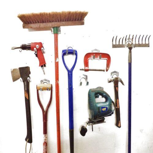 10 workshop tool storage hooks garden shed garage wall for Garden shed hooks