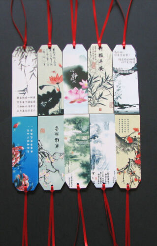 10 pcs Chinese painting poem book marks with ribbon in Books, Accessories, Bookmarks | eBay