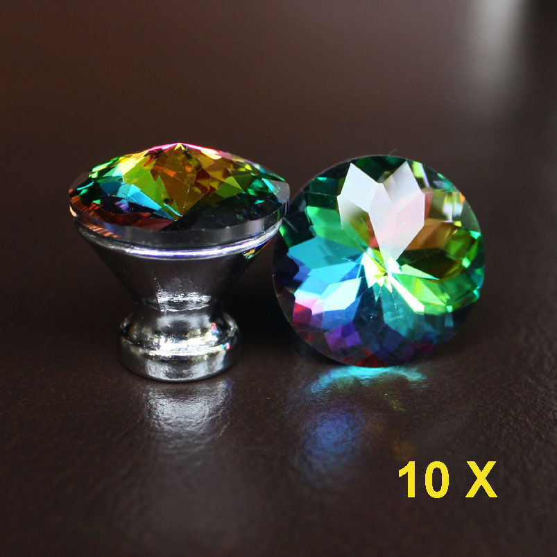 10 Pcs Crystal Glass Drawer Knobs Cabinet Handle Pulls Multi Color