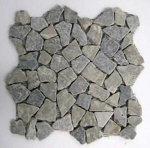 10 qm marmor grau bruch mosaik fliesen naturstein bodenfliesen dusche bad neu ebay. Black Bedroom Furniture Sets. Home Design Ideas