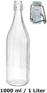 10 x 1l b gelflasche 10 eckig verschluss schnapsflasche lik r glasflaschen ebay. Black Bedroom Furniture Sets. Home Design Ideas