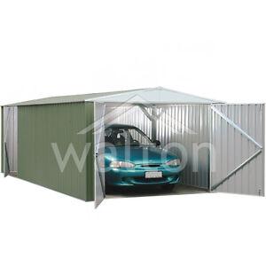 10 39 x 20 39 absco pale eucalyptus 10x20 car port apex metal for 20 x 25 garage kits