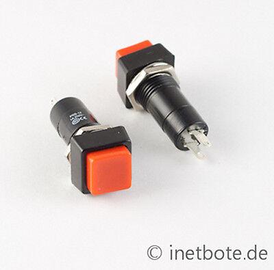 10-x-Einbaudrucktaster-Offner-Drucktaster-Eckig-Taster-Roter-Schaltknopf