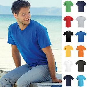 10-x-Herren-Mann-V-Neck-V-Ausschnitt-Valueweight-Value-T-Shirt-Fruit-of-the-loom