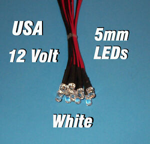 10 x LED 5mm PRE WIRED LEDS 12 VOLT WHITE 12V PREWIRED in Business & Industrial, Electrical & Test Equipment, Electronic Components | eBay