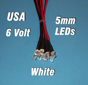 10 x LED - 5mm PRE WIRED LEDS 6 VOLT WHITE 6V PREWIRED in Business & Industrial, Electrical & Test Equipment, Electronic Components | eBay