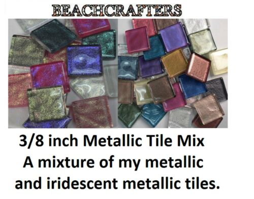 100 - 3/8 inch MIXED METALLIC AND IRIDESCENT METALLIC Glass Mosaic Tiles in Crafts, Glass & Mosaics, Glass & Mosaic Tiles | eBay