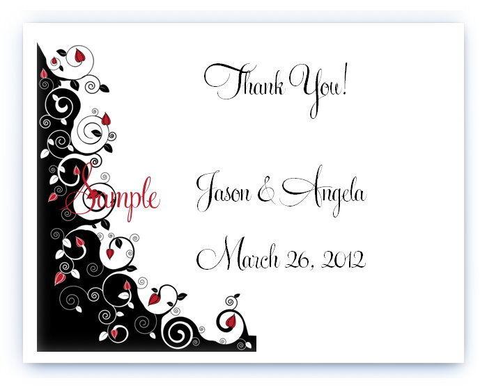 ... Custom Personalized Black White Rose Wedding Bridal Thank You Cards