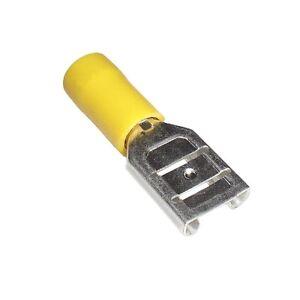 100-Flachsteckhuelsen-gelb-9-5-x-1-2-Kabelschuhe-4-6mm