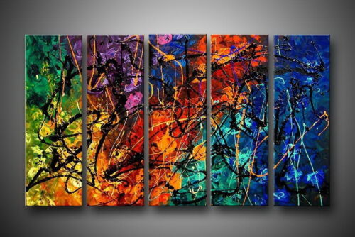 100% HAND PAINTED HANDICRAFTS HUGE CANVAS ART MODERN ABSTRACT OIL PAINTING 5PC in Art, Art from Dealers & Resellers, Paintings | eBay