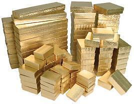 100 Pieces Assorted Sizes Gold Cotton Filled Jewelry Gift Boxes Foil Box Stores in Jewelry & Watches, Jewelry Boxes & Organizers, Jewelry Boxes | eBay