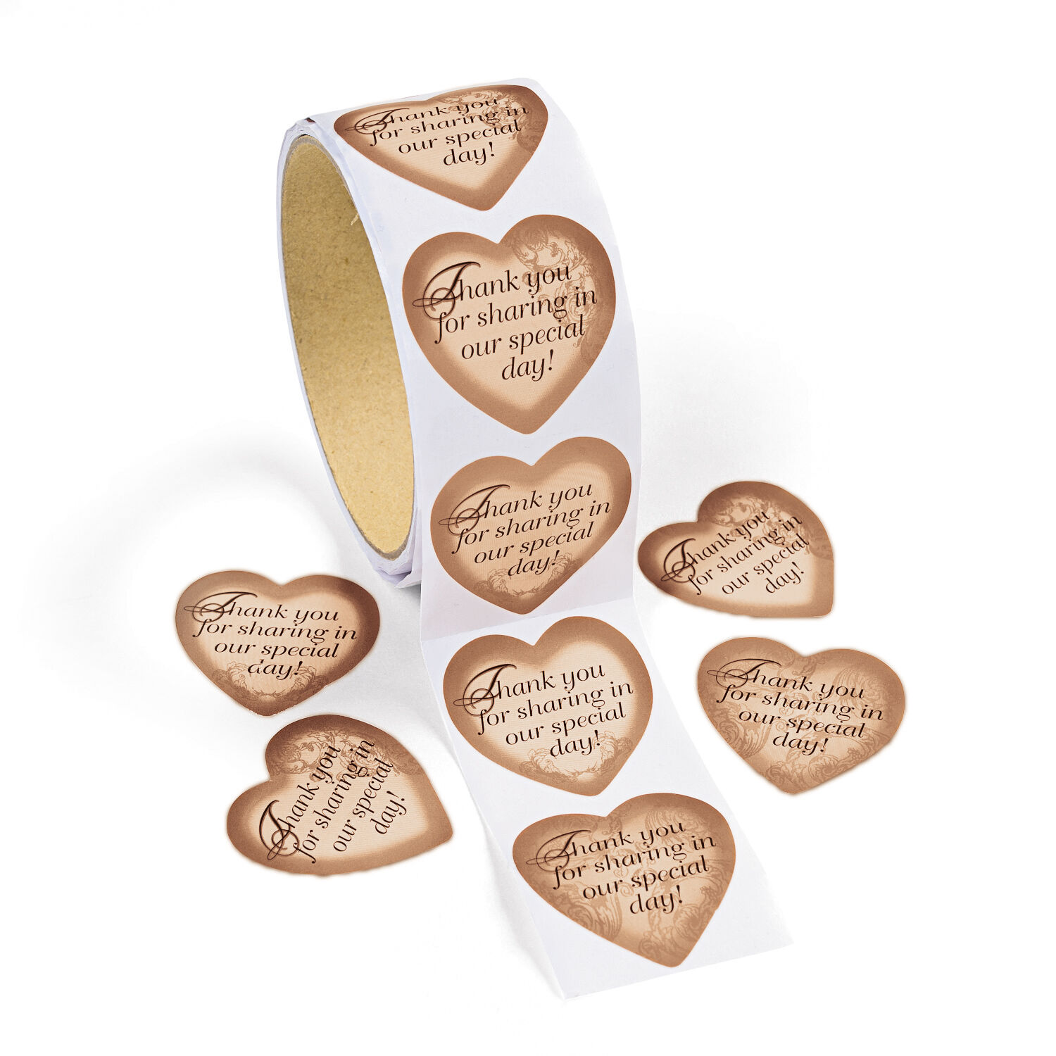100 gold heart wedding thank you card seal label favor tag