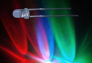100-St-RGB-Led-3mm-schneller-Lichtwechsel-blinkend-Widerstand