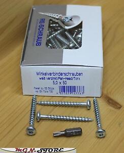 100-Stueck-RE-SCHRAUB-Winkelverbinderschrauben-5-x-50-mm-TX-20-Pan-Head-Bit