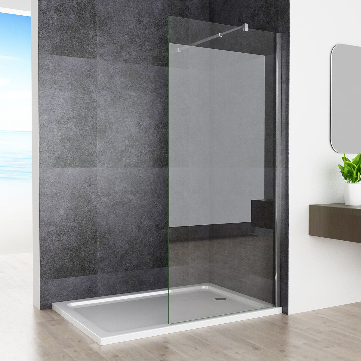 80 x 200cm walk in dusche duschabtrennung duschwand duschkabine 10mm nano glas ebay. Black Bedroom Furniture Sets. Home Design Ideas
