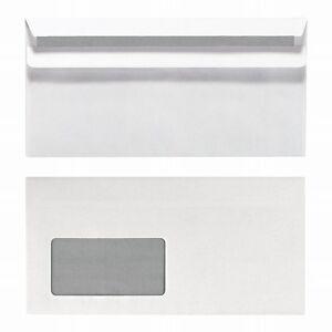 1000-x-Briefumschlaege-DIN-lang-mit-Fenster-selbstklebend-weiss-Briefhuelle-DL-sk