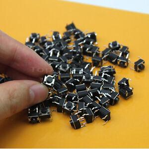 100X-DIP-4-Drucktaster-Tast-Schalter-Drucktaste-6x6x5mm-4pin-Rund-Schwarz-Fein