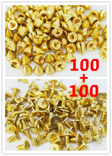 100pcs 9.5mm Gold Mental Bullet Spike Studs Rivet Punk Bag Belt Leathercraft DIY in Crafts, Home Arts & Crafts, Leathercraft | eBay