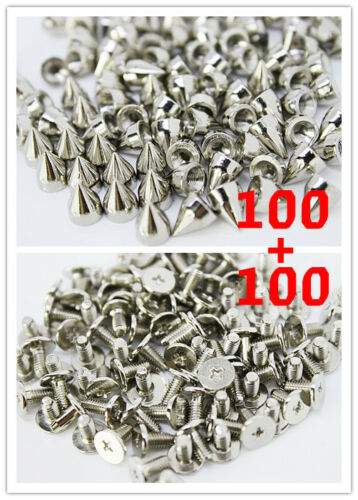 100pcs 9.5mm S Mental Bullet Spike Studs Rivet Punk Bag Belt Leathercraft DIY in Crafts, Home Arts & Crafts, Leathercraft | eBay