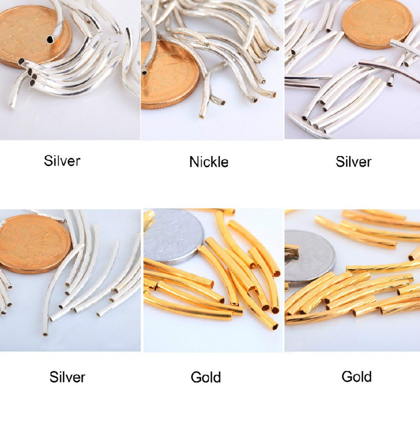 Hotsale pcs silver gold nickel copper smooth curved
