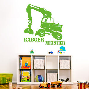 10303 wandtattoo kinderzimmer bagger meister jungen motiv wandbild 38 x 38 ebay. Black Bedroom Furniture Sets. Home Design Ideas