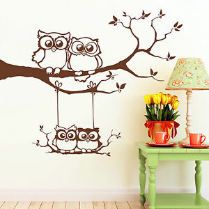 10358 wandtattoo eulen familie eule auf ast und schaukel owl uhu eulchen baum ebay. Black Bedroom Furniture Sets. Home Design Ideas