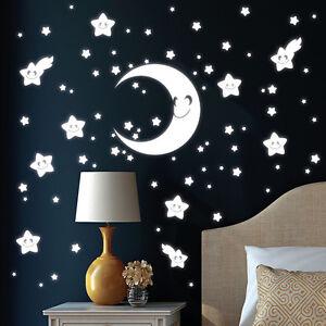 10470 wandtattoo loft leuchtaufkleber mond sterne leuchtsterne gesicht leuchtend ebay. Black Bedroom Furniture Sets. Home Design Ideas